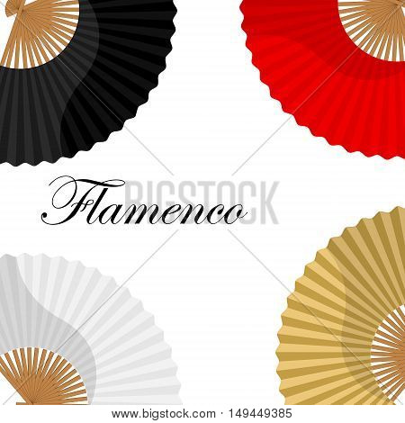 Vector illustration folding fan background wallpaper card with white golden black and red hand fan. Flamenco dance