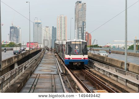 Bts Sky Train, An Elevated Public Transportation System In Bangkok.