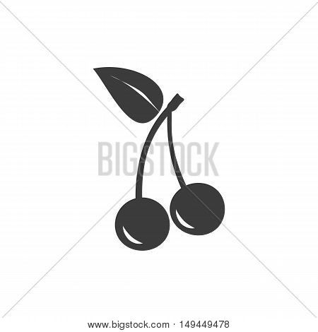 Two Cherries Icon. Two Cherries Vector Isolated On White Background. Flat Vector Illustration In Bla