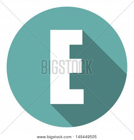 Letter E with a long shadow. Vector illustration EPS10