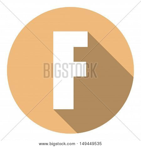 Letter F with a long shadow. Vector illustration EPS10