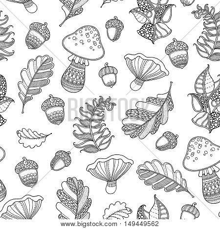 Seamless pattern in doodle style. Ornate, decorative, tribal, forest vector design elements. Black and white background. Oak leaves, acorns, fern, mushroom. Zentangle hand drawn coloring book page