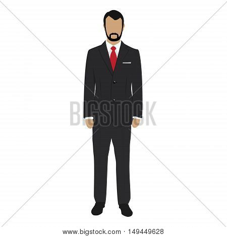 Vector illustration handsome young business man cartoon character. Young man. Businessman