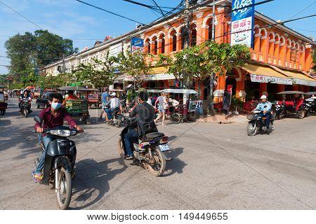 Popular Tourist Street In  In Siem Reap, Cambodia