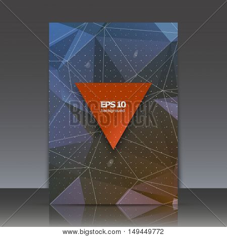 Abstract composition, polygonal triangle construction, connecting dot and line, a4 brochure title sheet, space background, crystal facets surface, diamond structure backdrop, EPS10 vector