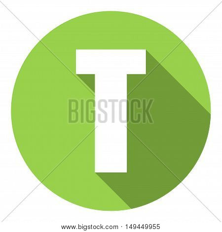 Letter T with a long shadow. Vector illustration EPS10