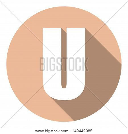 Letter U with a long shadow. Vector illustration EPS10