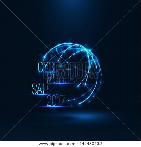 Cyber monday sale 2017 illustration . Big global sale . Geometric technology shape of glowing particles . Vector background . Technology poster with glitch effect .