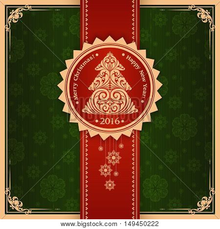 Christmas background. Ornamental template with label, Christmas tree and snowflakes. Vector design. Vintage elegant Christmas New Year greeting card, invitation, banner, poster
