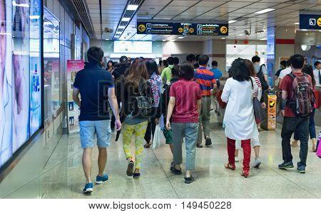 Crowded Mrt Rail Station In Bangkok.