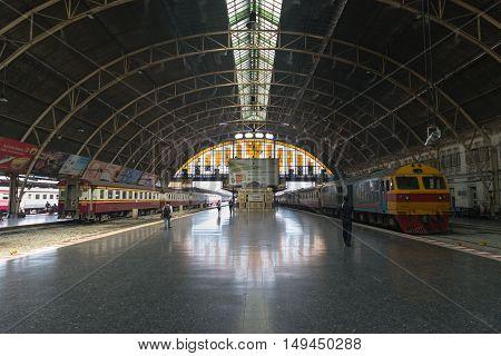Boarding Platform At Hua Lamphong Railway Station In Bangkok.