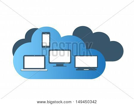 Cloud blue color with computer devices flat design