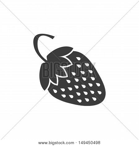 Strawberry Icon. Strawberry Vector Isolated On White Background. Flat Vector Illustration In Black.