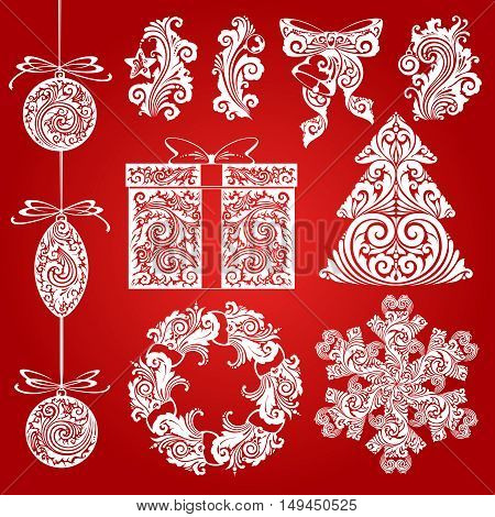 Vector set Christmas ornate symbols, design elements, objects. Calligraphy illustration. Christmas decor elements
