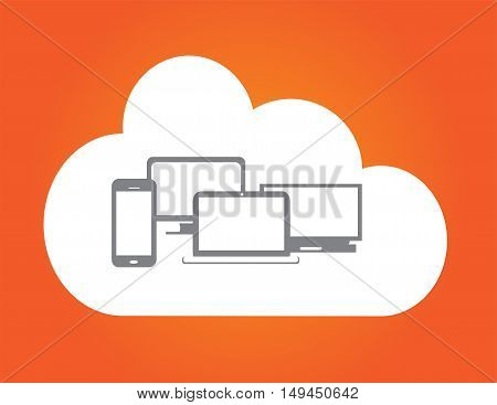 Cloud orange background with computer devices flat