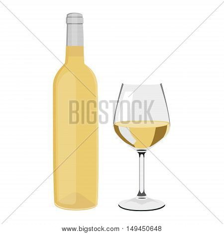 Vector illustration white wine bottle and wine glass with wine isolated on white background. Wineglass