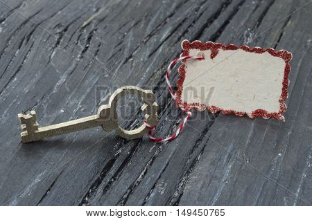 wooden key with blank tag
