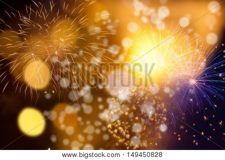 Abstract holiday background - fireworks at New Year and copy space