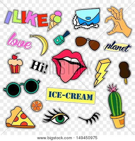 Fashion patch badges. Stickers, pins, patches and handwritten notes collection in cartoon 80s-90s comic style. Trend. Vector illustration isolated on transparent background. Vector clip art.