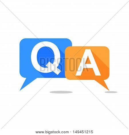 Question and Answer Bubble Speech Icon with Long Shadow