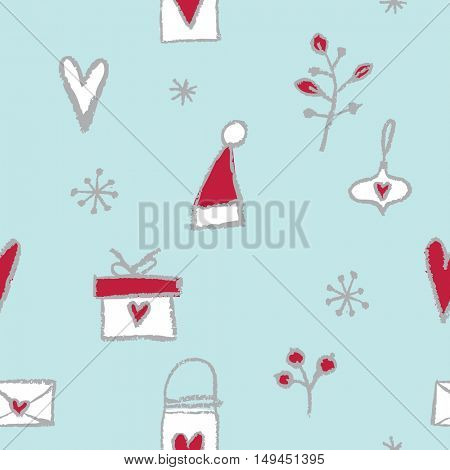 New year seamless pattern. Hand drawn. Decorative background.