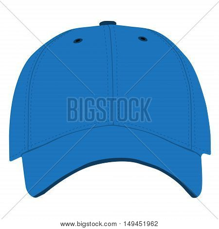 Vector illustration of blue baseball cap front view isolated on white background. Baseball cap template design