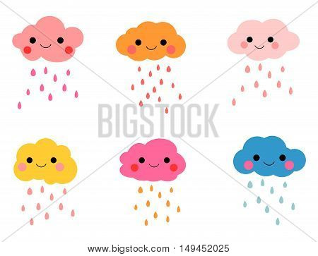 Cute and Colorful Smiling Clouds with Rain