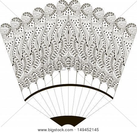 Black and white sketch of a ornamental fan, hand drawn vector illustration