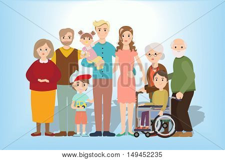 Big family together vector illustration of a flat design. Set of big happy family character, Mom and Dad, grandparents, parents and children, brother and sister.