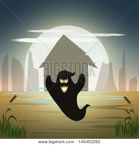 Halloween party on the swamp. Crazy ghost. Vector illustration