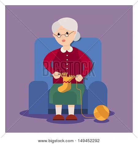 Grandma sits in an armchair and knits. Grandmother cartoon character. Elderly woman knits. Vector flat cartoon illustration.