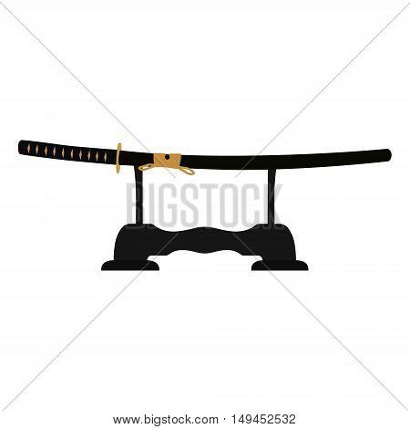 Vector illustration japanese katana sword in scabbard on sword stand rack . Samurai sword traditional weapon