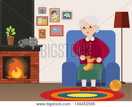 Grandma sits in an armchair and knits at home. Grandmother cartoon character. Elderly woman knits. Vector flat cartoon illustration.