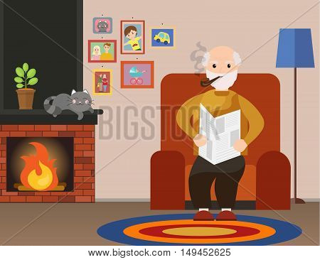 Grandpa sits in a chair reading a newspaper and smoking a pipe at home. Old man reading newspaper. Grandfather smoking. Vector flat cartoon illustration