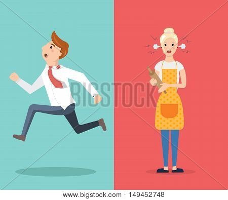 Family conflict couple man and woman swear. Cartoon characters. Man run and angry wife with a rolling pin. Vector illustration
