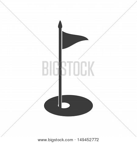 Golf flag icon. Golf flag Vector isolated on white background. Flat vector illustration in black. EPS 10