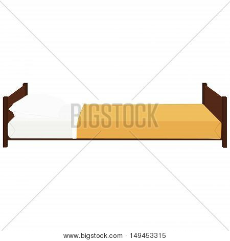 Vector illustration hospital bed with pillow. Comfort wooden bed with orange blanket. Bed icon