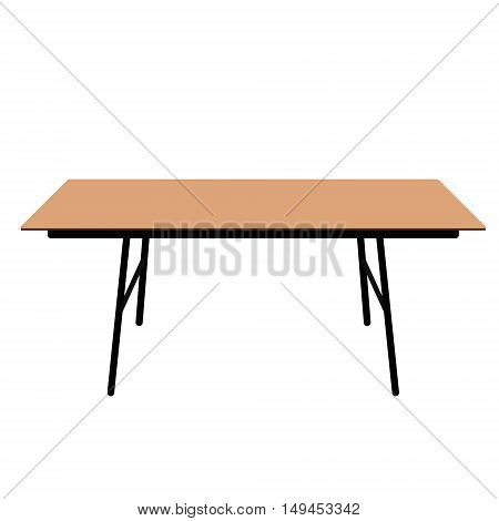 Vector illustration wooden rectangular table. Desk. Dining table