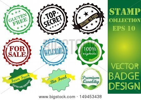 Rubber stamps collection isolated on white background