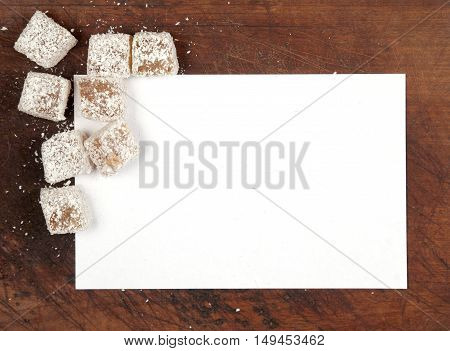 Turkish Delight (lukum) as a frame border background. Top view close up