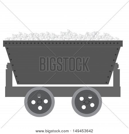 Vector illustration full of diamonds trolley mine for resource delivery. Wagon for coal mineral ore. Minecart
