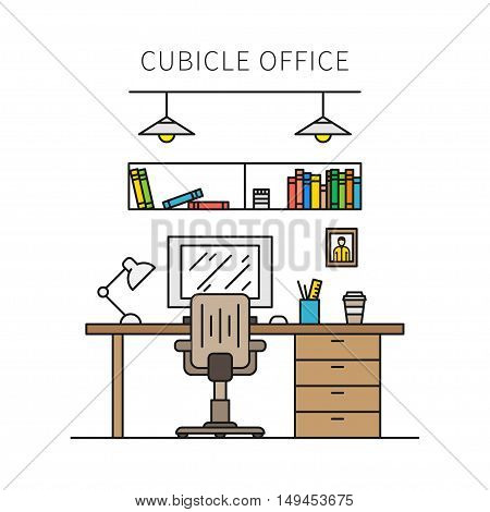 Cubicle office with furniture and equipment lamp desktop table chair vector illustration. Individual working place creative concept. Minimal office space graphic design.