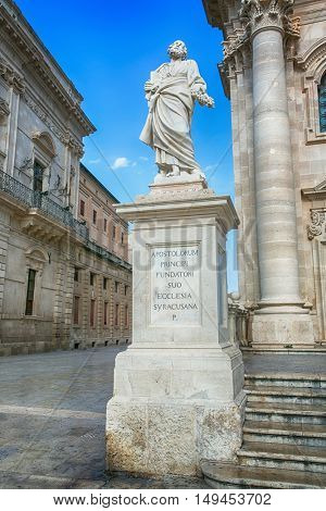 SYRACUSY, SICILY, ITALY - JUNE 26, 2016: Apostle statue in Cathedral in Syracuse, Sicily