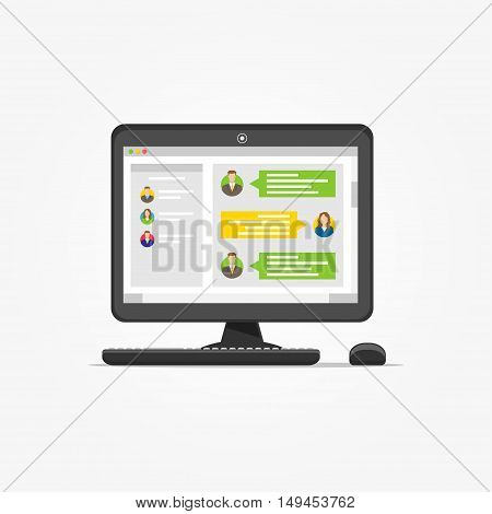 Desktop with messenger application vector illustration. Messenger app creative concept. Application for communication graphic design.