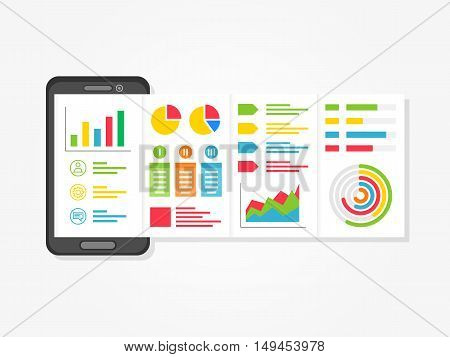 Mobile presentation vector illustration. Presentation app with charts diagrams creative concept. Business presentation layout graphic design.