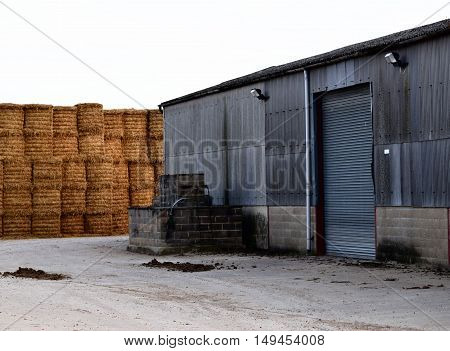harvest agriculture hay stacking farming yard building