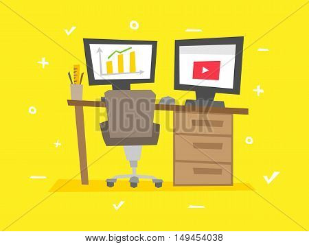 Working place cartoon vector illustration. Office equipment creative concept.