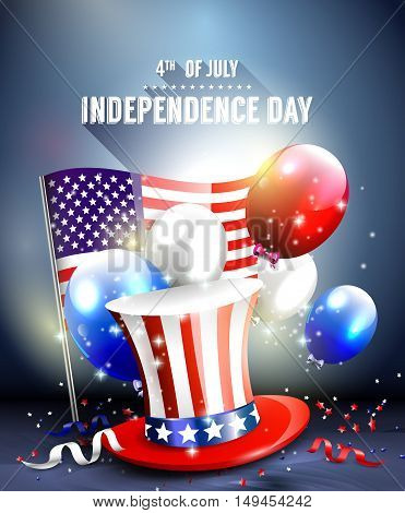 Independence day - vector poster with hat balloons and American flag