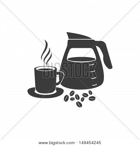 Pouring coffee icon. Pouring coffee Vector isolated on white background. Flat vector illustration in black. EPS 10