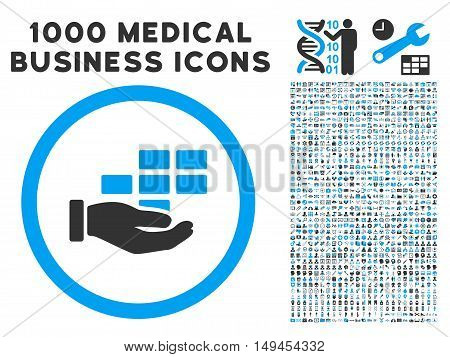 Service Schedule icon with 1000 medical commercial gray and blue vector pictographs. Clipart style is flat bicolor symbols white background.
